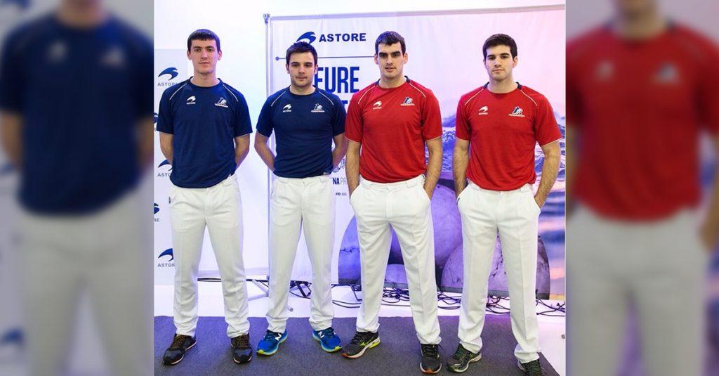 Los finalistas del Parejas posan con la nueva equipación de ASTORE