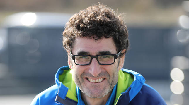 El preparador físico David Domínguez, esta semana en los aledaños del Navarra Arena.